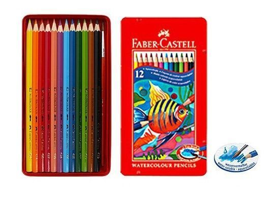Details About Faber Castell 12 Watercolour Pencil 12 Colors Tin