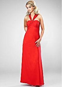 Stunning Chiffon Sheath Halter Neckline Long Bridesmaid Dress