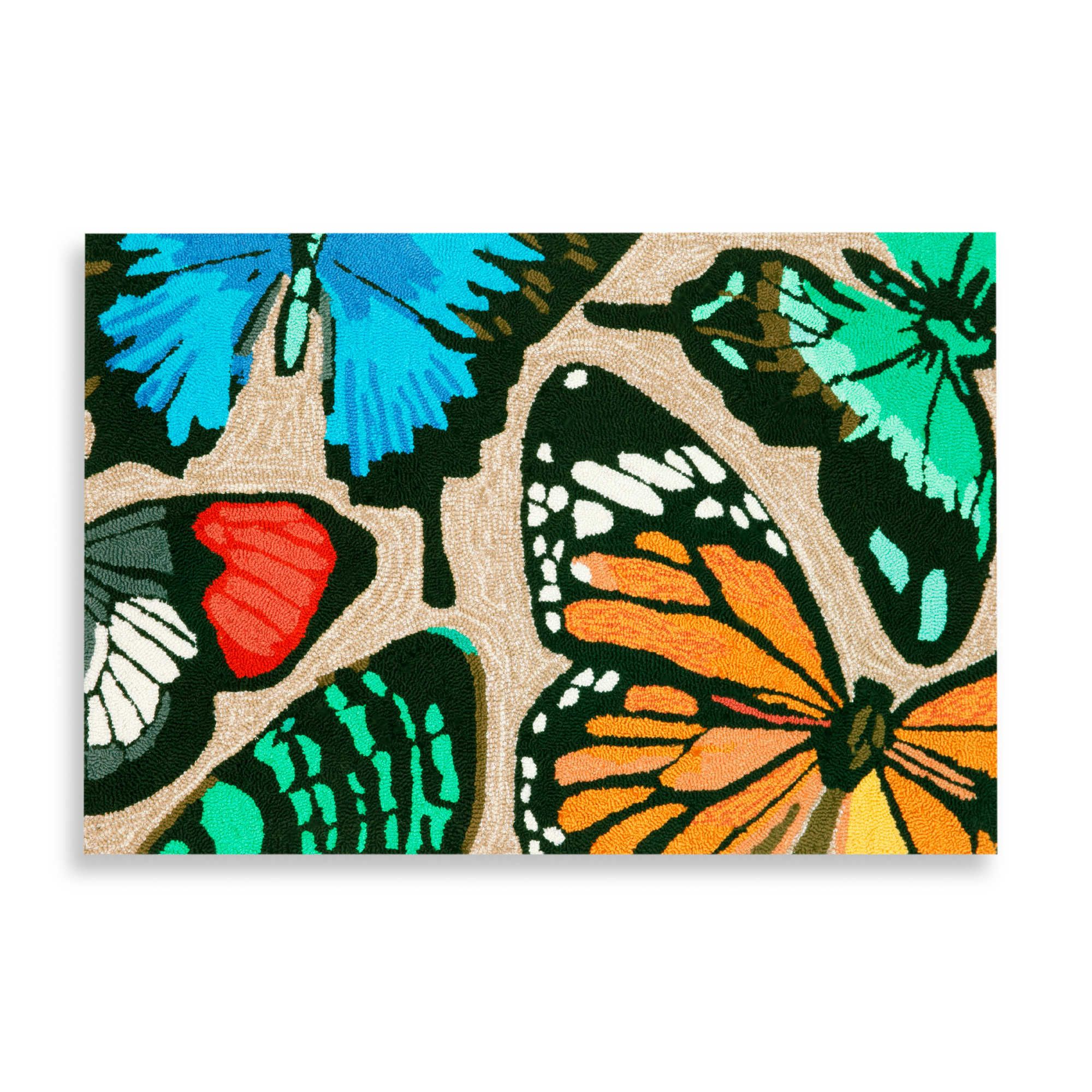 Trans-Ocean Butterfly Dance 20-Inch x 30-Inch Front Porch Rug