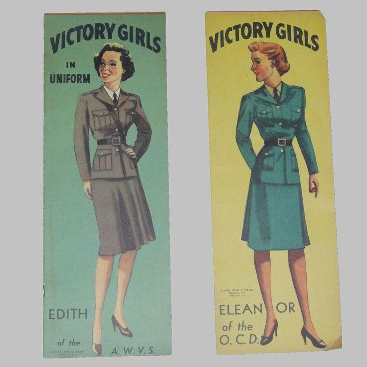 victory girls paper dolls   Vintage 1940's Victory Girls in Uniform Paper Dolls Uncut Original ...