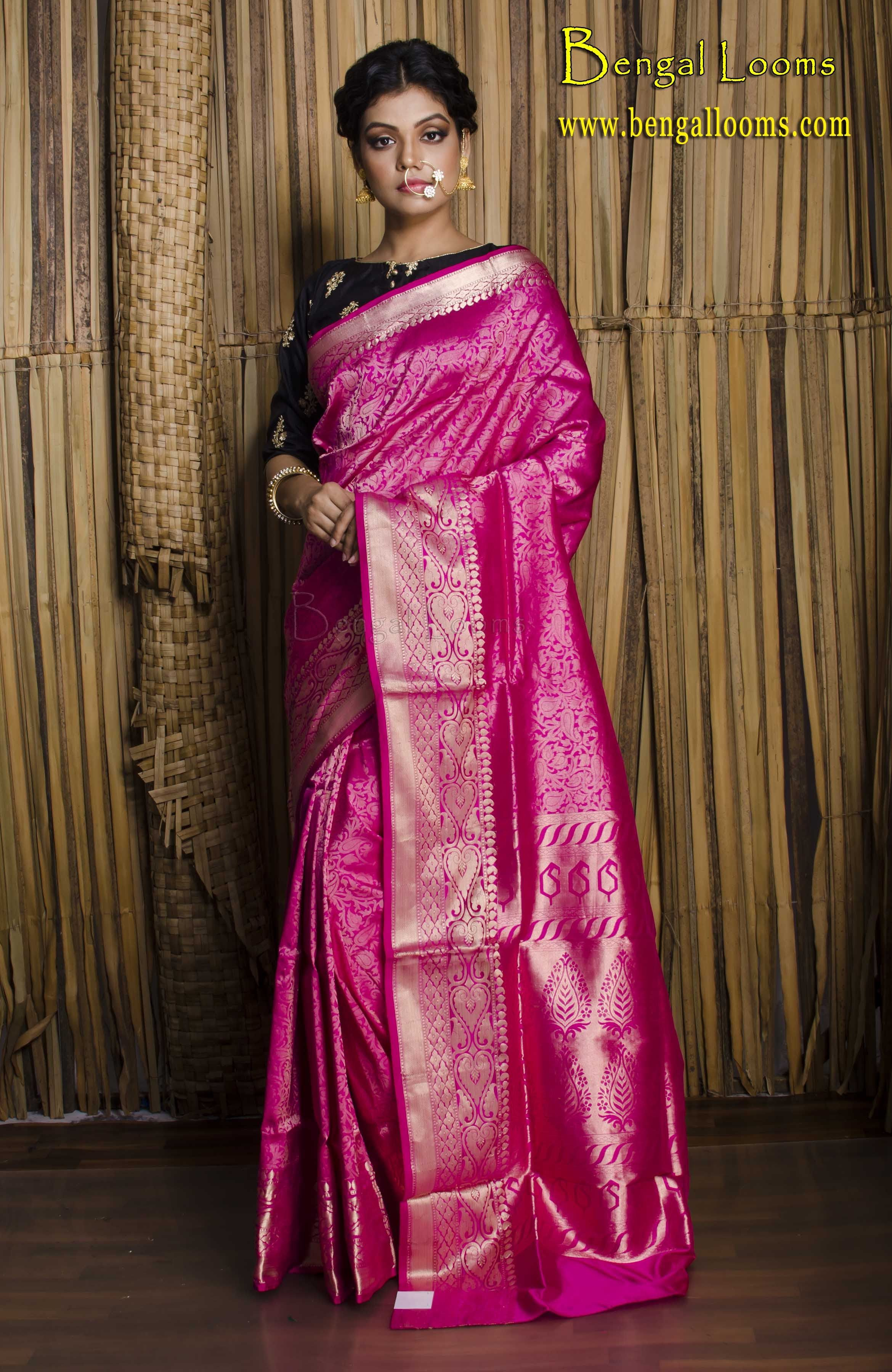 c66c687954f14e Brocade Silk Banarasi Sari in Magenta and Gold