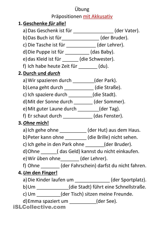 Pr positionen mit akkusativ daf pinterest deutsch for Prapositionen mit akkusativ