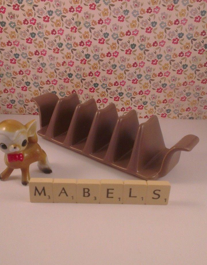 Poole – Twintone Mushroom and Sepia Toast Rack | Mabel's Tableware