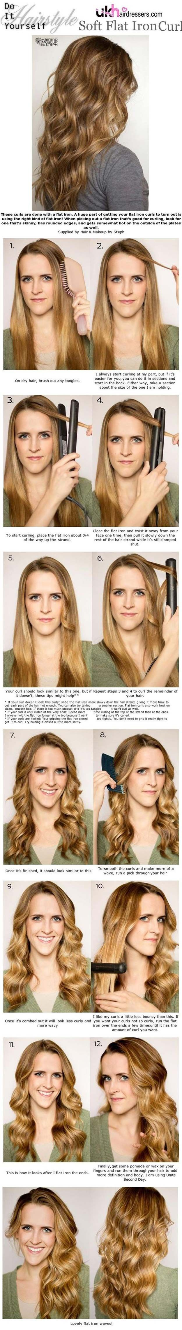 Cool Hairstyles You Can Do With Your Flat Iron Soft Flat Iron Curls Easy Step By Step Tutorials And Hair Tips Hair Styles Flat Iron Curls Curly Hair Styles