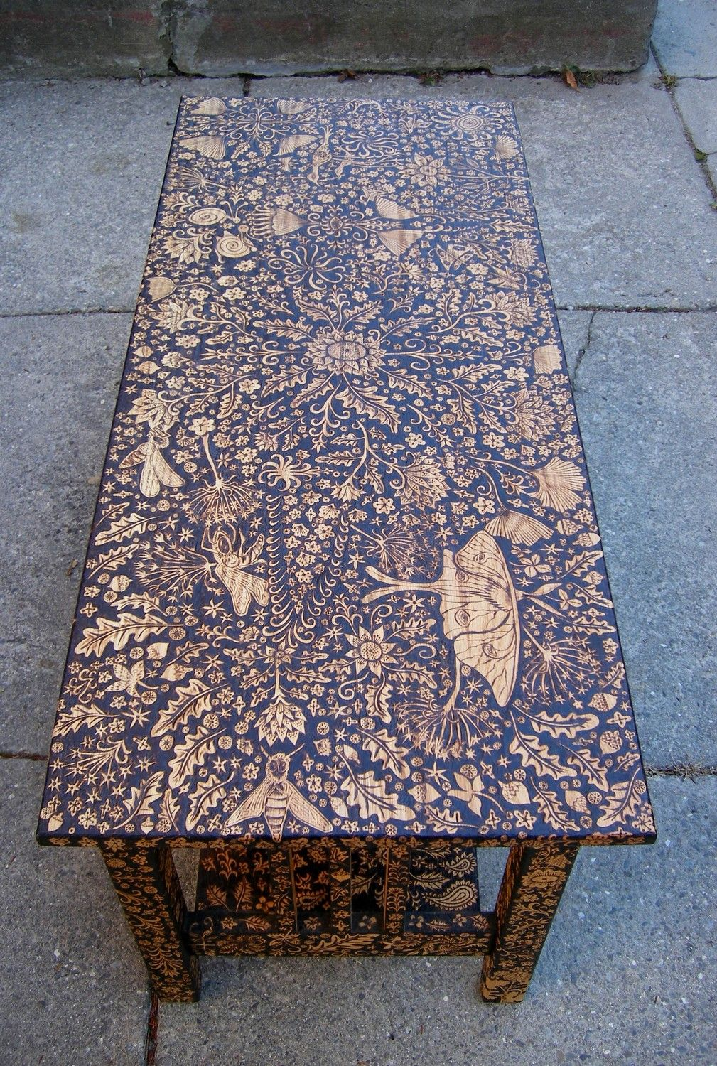 Wood burned coffee table by cecilia galluccio coffee for Burned wood furniture