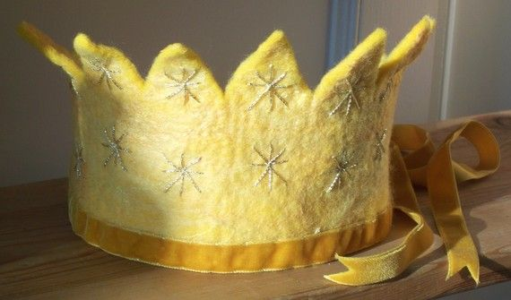 Sun Bright Equinox Felt Golden Waldorf Crown by SusannaW on Etsy, $56.00