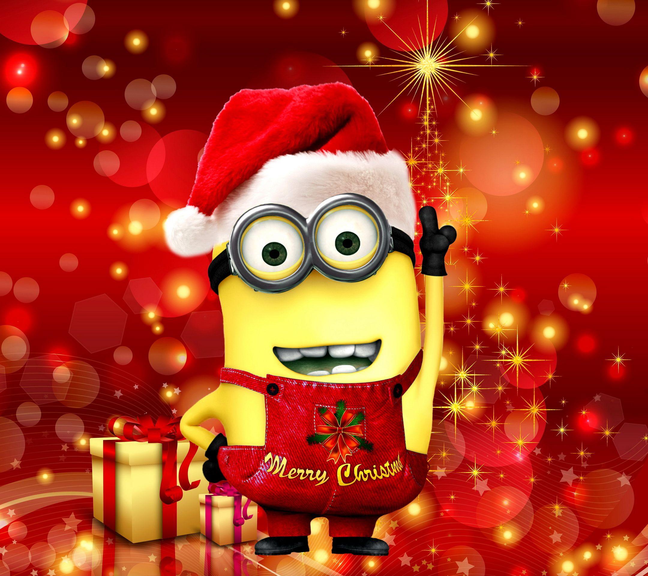 Christmas Xmas Minion Hd Desktop Santa Cute Mignon | Minion hd ...