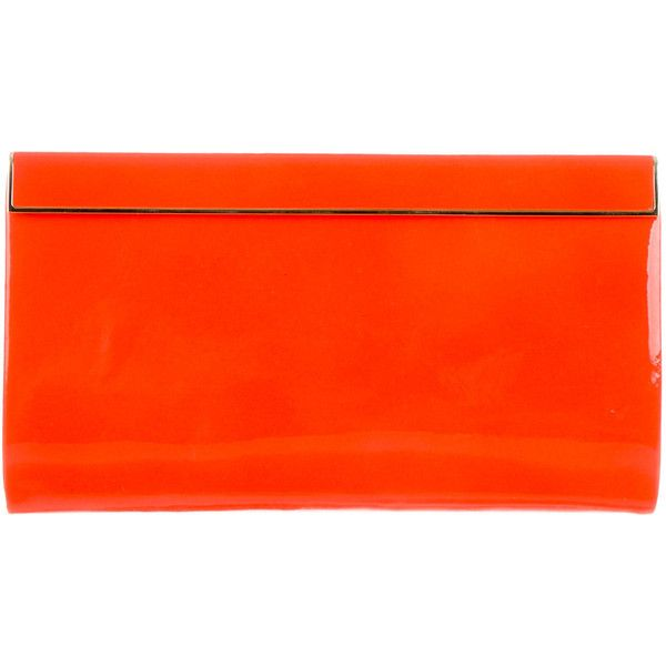 Pre-owned Jimmy Choo Glazed Cayla Clutch ($380) ❤ liked on Polyvore featuring bags, handbags, clutches, orange, orange handbags, red purse, pre owned handbags, red hand bags and red clutches