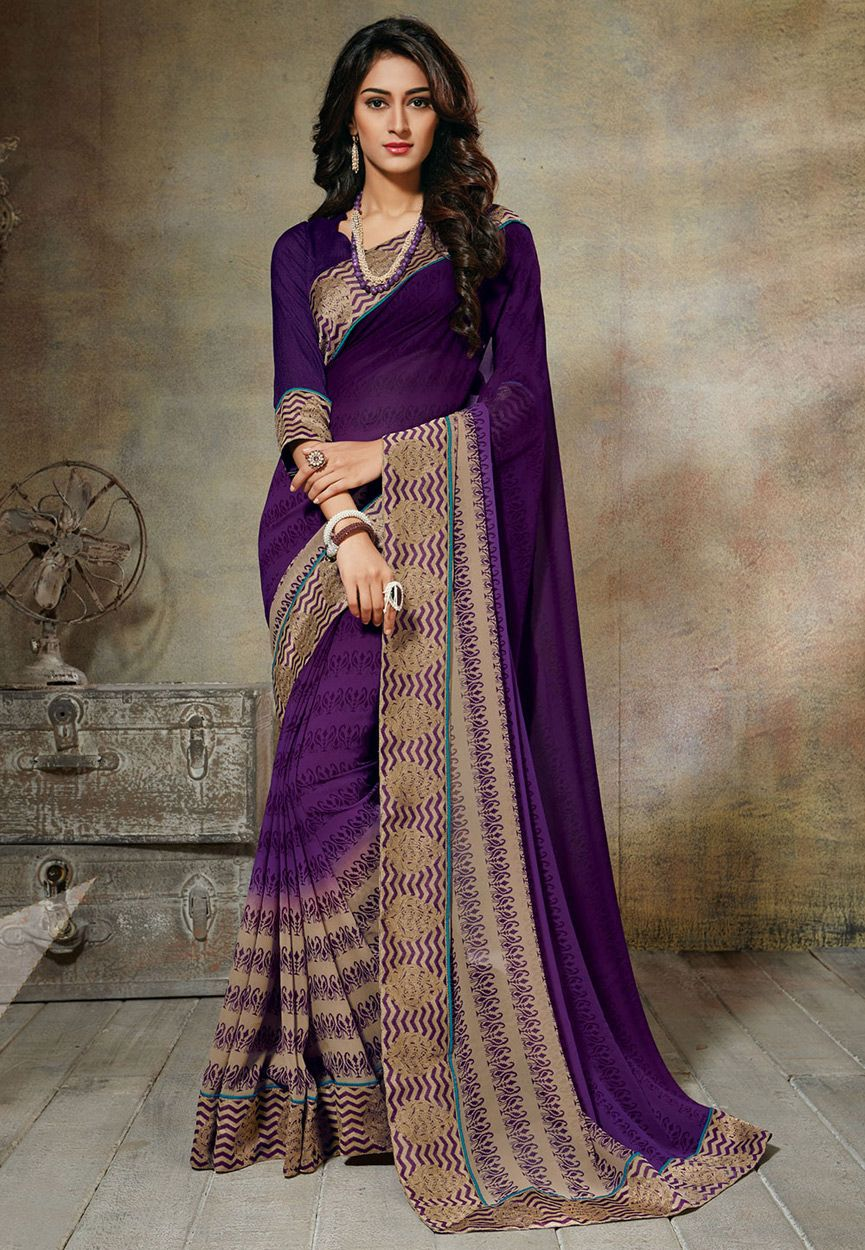 9fb22bf034b98 Buy Purple and Beige Faux Georgette Saree with Blouse online