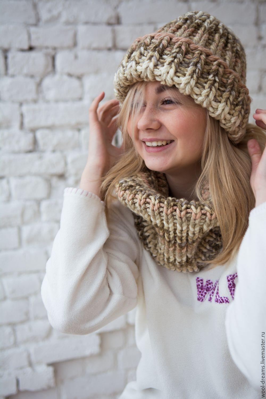 купить шапка крупной вязки бежевый шапка вязаная шапка женская
