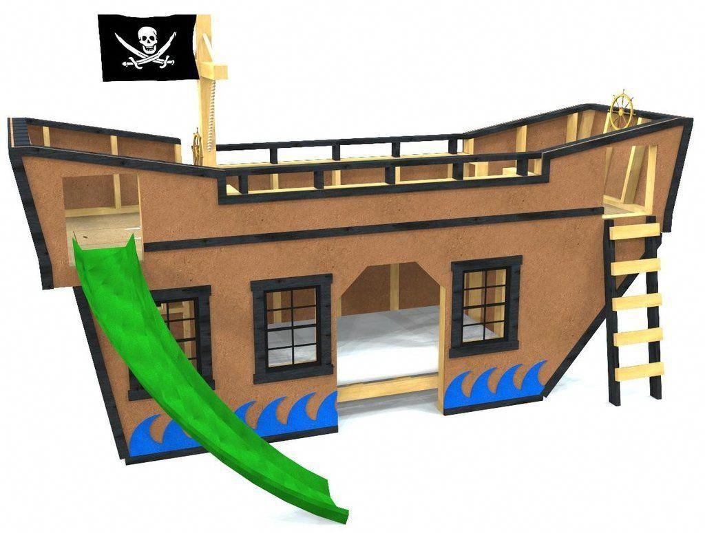 Diy loft bed with slide plans  Sea King Pirate Ship Bunk Bed Plan diyindoorplayhouse  Build A