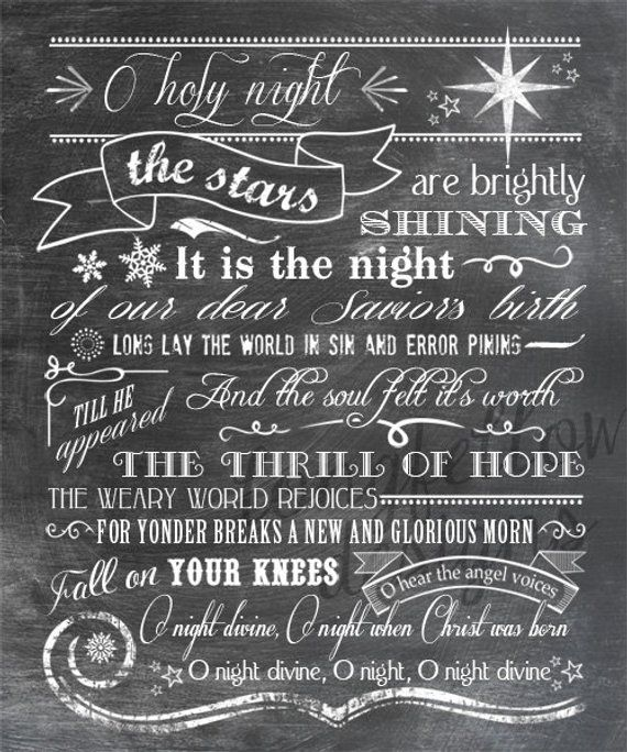 o holy night lyrics vertical print typography art christmas full lyrics or shortened