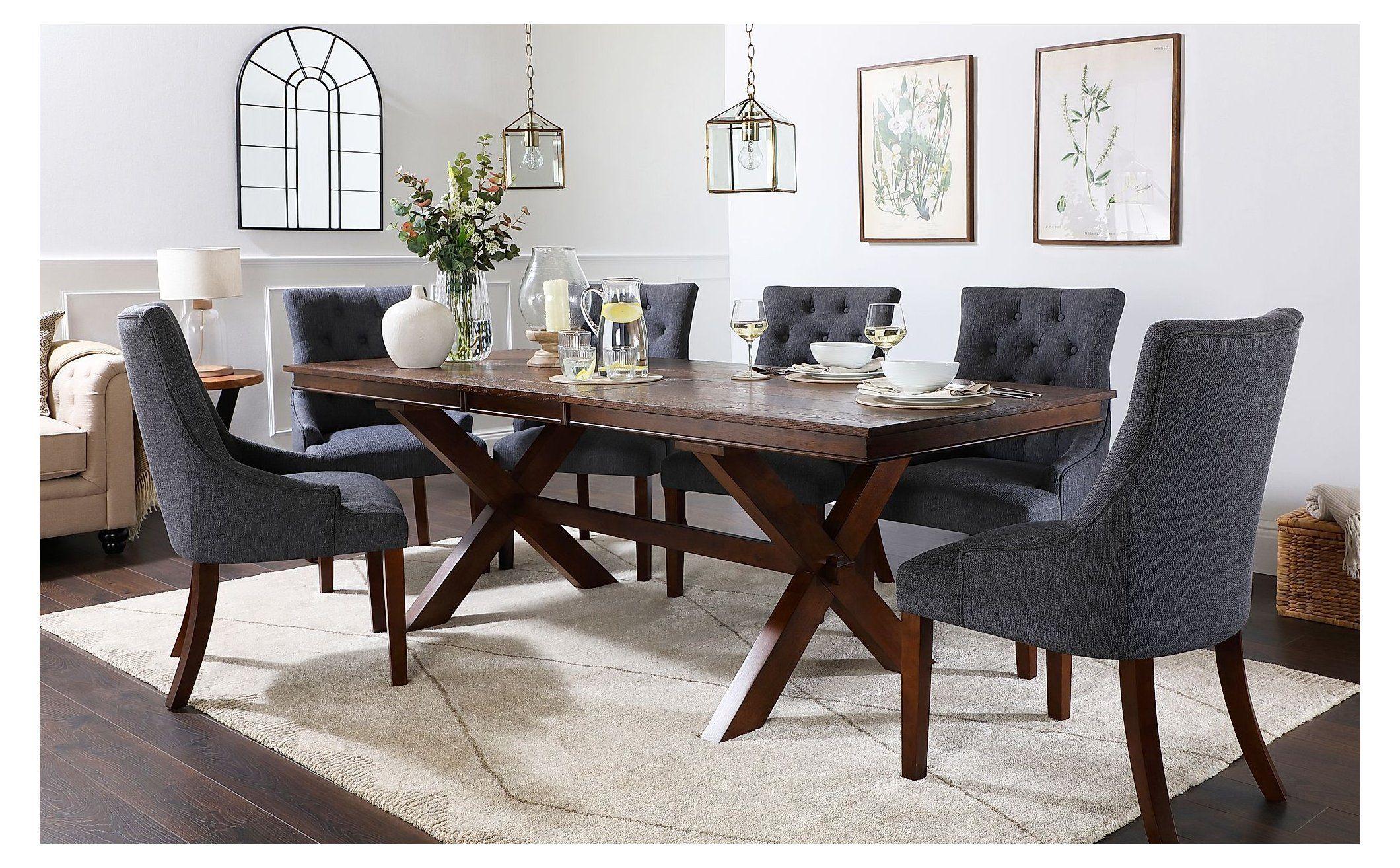 Grange Dark Wood Extending Dining Table with 9 Duke Slate Fabric ...
