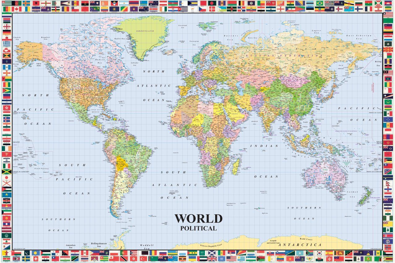 Map of the world lp 200 with flags huge laminated encapsulated map of the world lp 200 with flags huge laminated encapsulated poster measures 36 x gumiabroncs Images