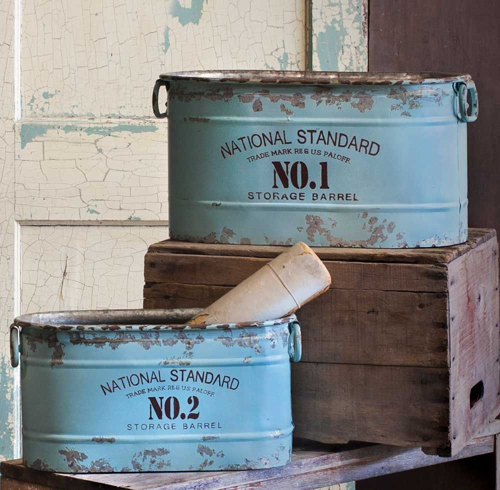 Classic Galvanized Canisters - National Standard Bucket - Set of Two - *FREE SHIPPING*