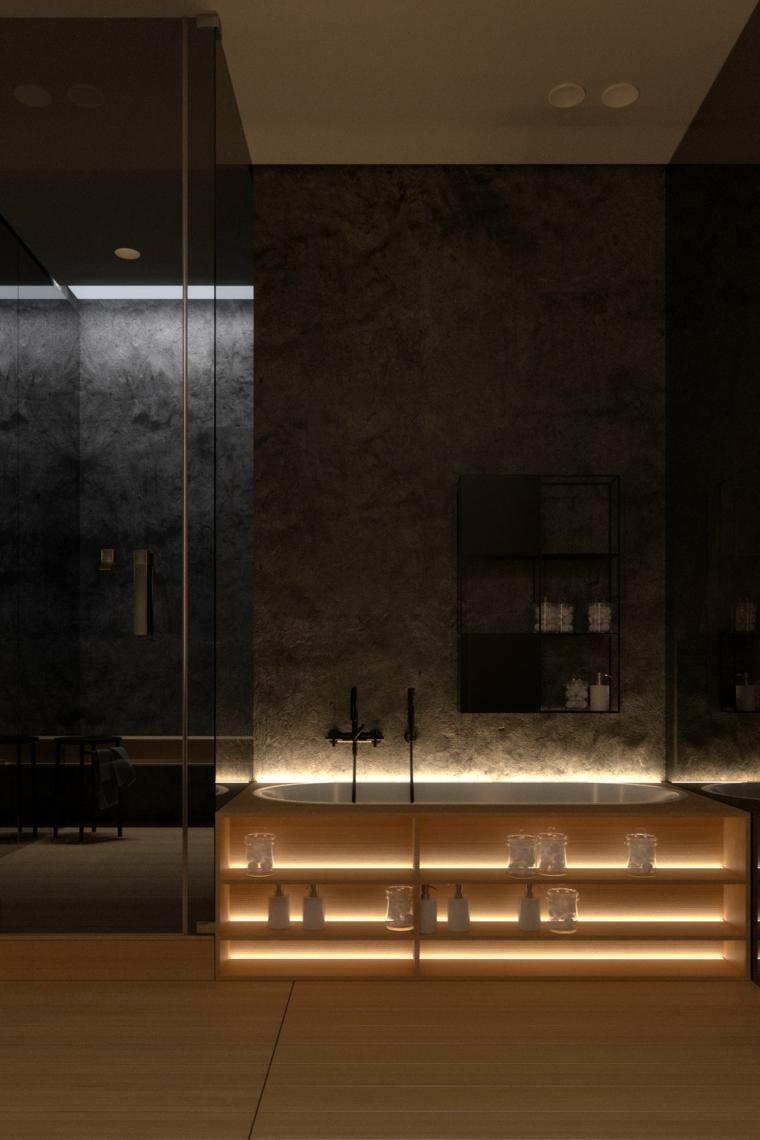 Dunkle Innenarchitektur - zwei Modelle moderner Häuser ...