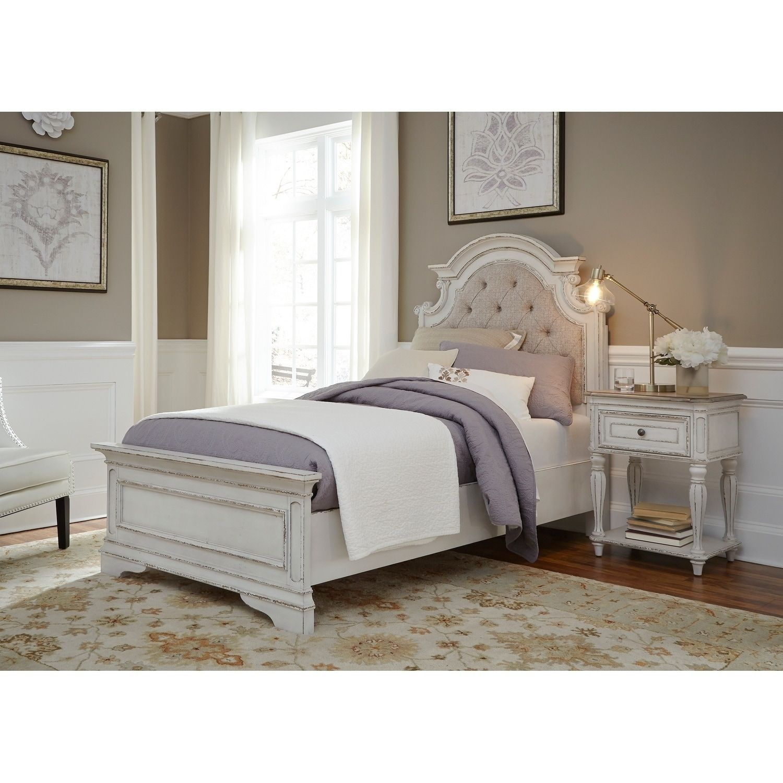 Best Magnolia Manor Antique White Upholstered Bed Bedroom 640 x 480