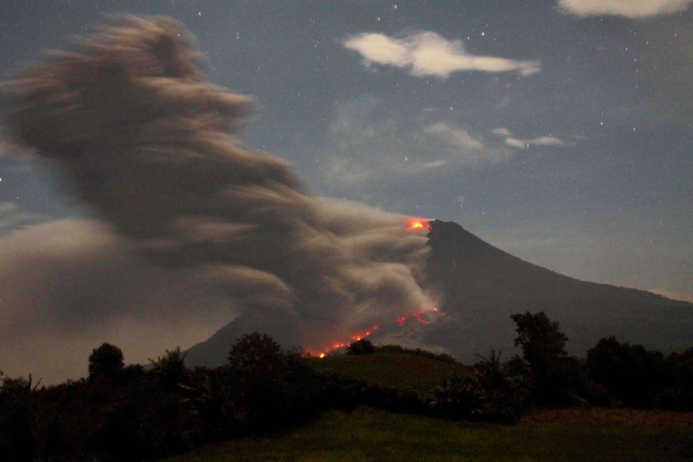 Mount Sinabung spews volcanic ash and lava near Karo, North Sumatra on January 9, 2014