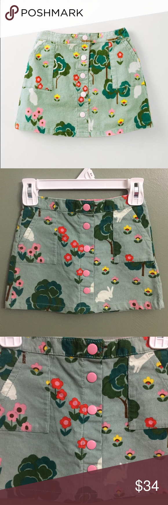 f73567c06 NWT Mini Boden Eton Blue Bunny Meadow Cord Skirt This lovely skirt comes in  extra hard-wearing fabrics with handy popper fastenings.