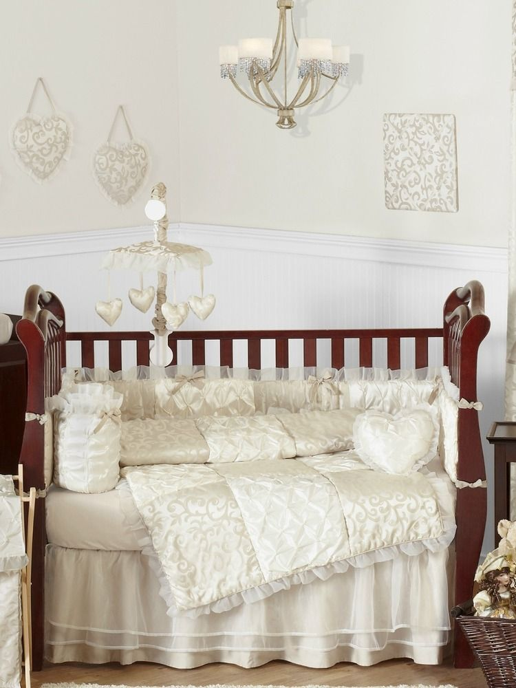 Victorian Ivory And Champagne Baby Bedding 9 Piece Nursery