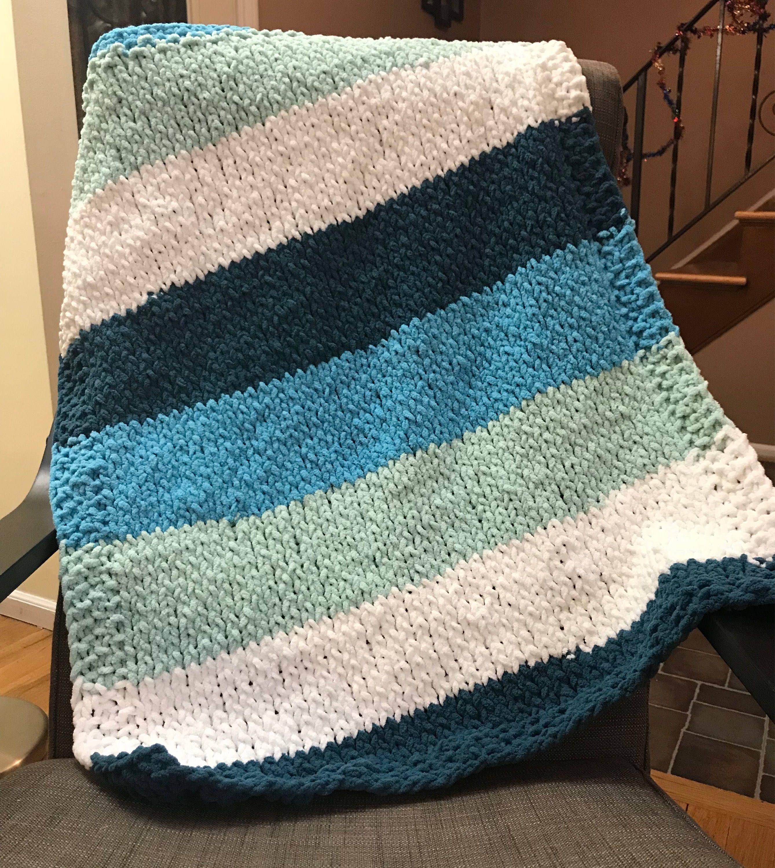 Hand Knit Chunky Baby Blanket // Bernat Blanket Stripes Yarn ...