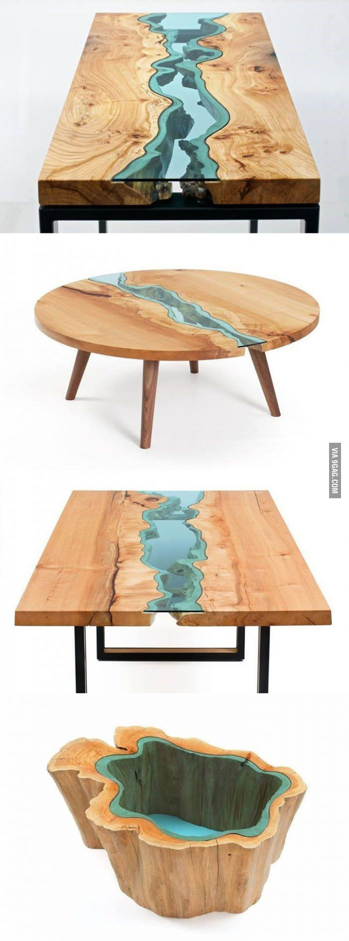 Wood Tables Embedded With Glass Rivers Driftwood Furniture Resin Furniture Wood Table [ 1883 x 700 Pixel ]