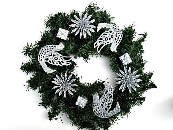 christmas candle ring christmas holiday decoration silver - Decorative Christmas Candle Rings
