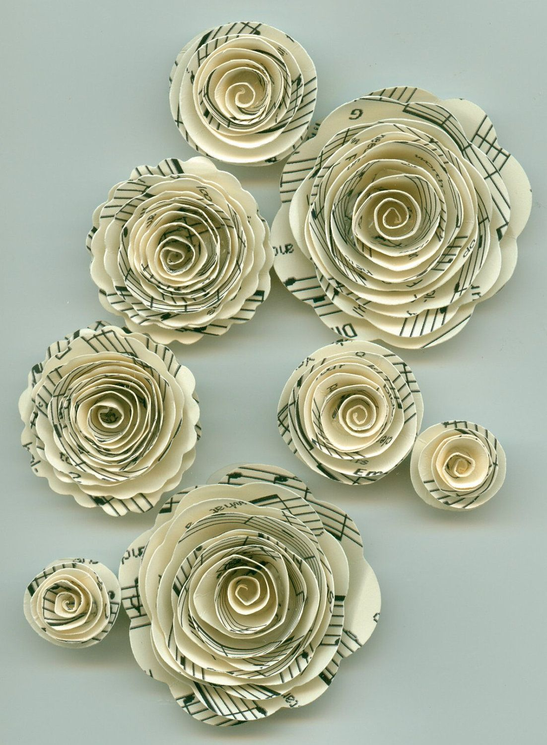 Music Note Rose Spiral Paper Flowers For Weddings Bouquets Events