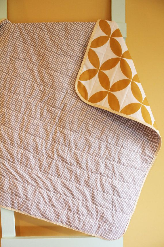 GOLD cateye modern GEOMETRIC circle quilt by PETUNIAS by PETUNIAS