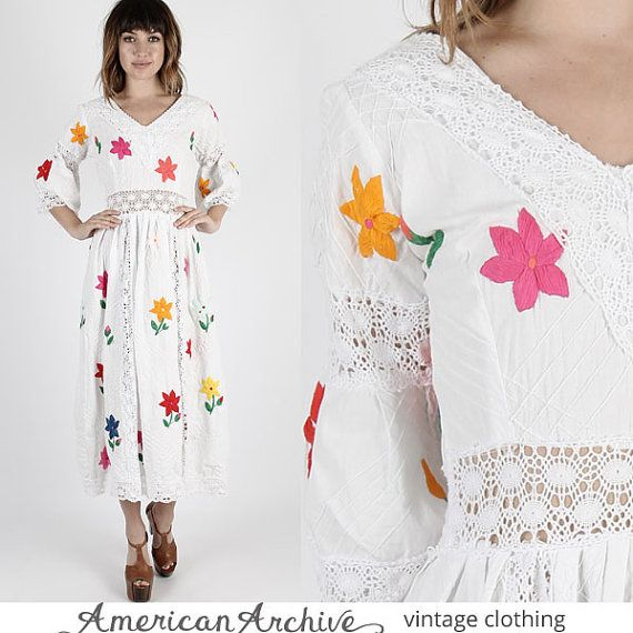 Mexican Dress Boho Wedding Dress Fiesta Dress Crochet Dress Vintage ...