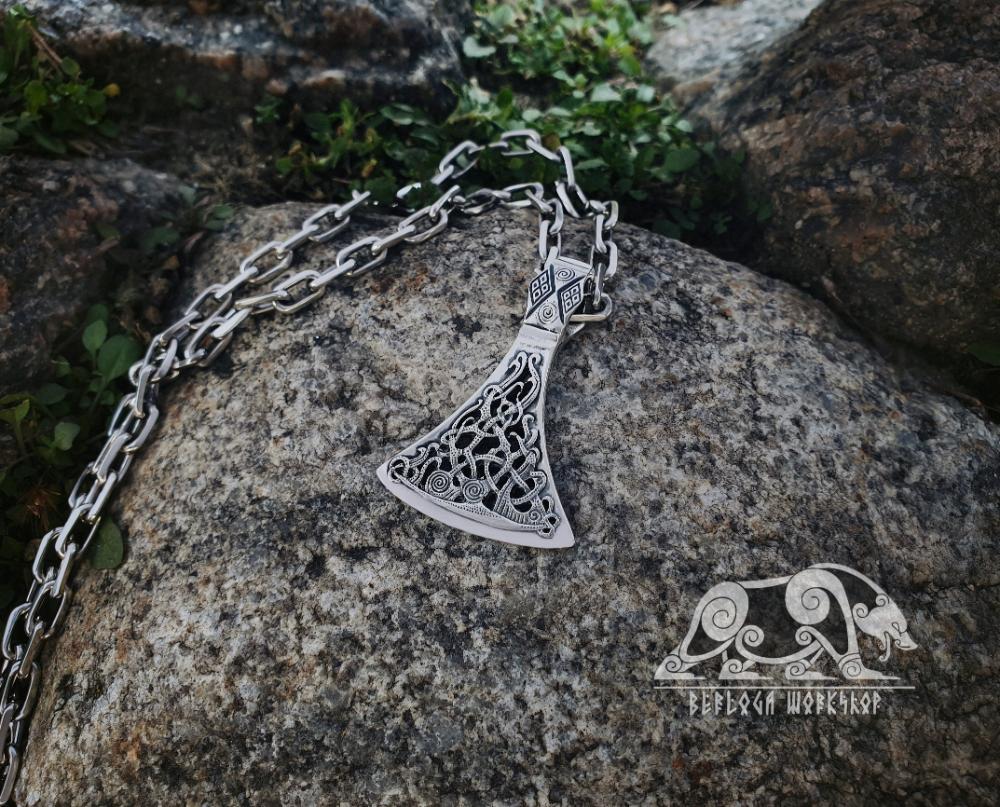 Viking Axe Pendant Sterling Silver Viking Necklace Scandinavian Norse Viking Jewelry Mammen Stylization 1 In 2020 Viking Jewelry Viking Necklace Silver