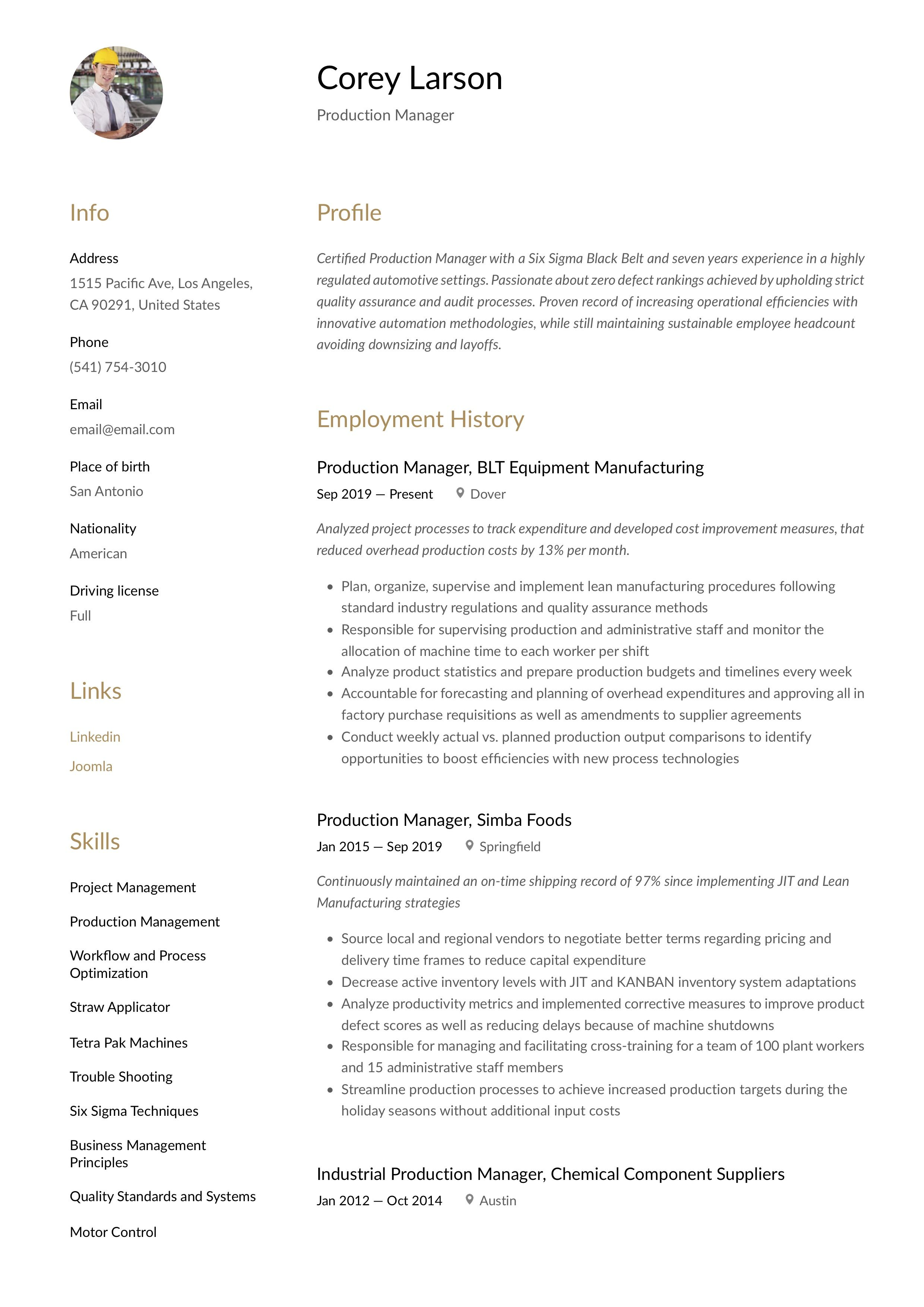 production manager resume  writing guide in 2020