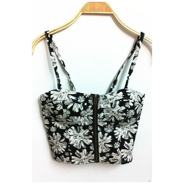 Spring Style Spaghetti Strap Zipper Front New Sexy Vintage Floral... (£16) ❤ liked on Polyvore featuring tops, crop tops, sexy tops, corset crop top, spaghetti strap crop top, vintage crop top and bralette tops