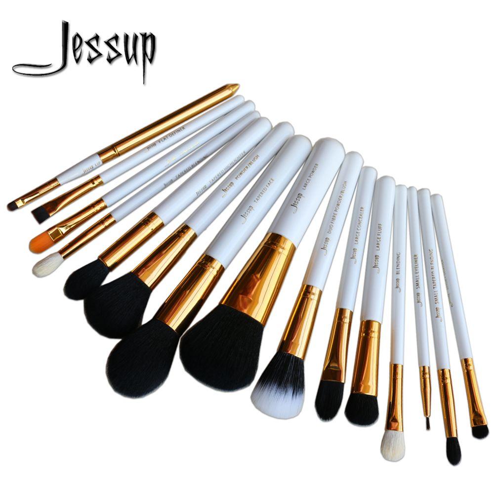 Jessupプロ15ピースメイクブラシセットパウダーファンデーションアイシャドウコンシーラーアイライナーリップブラシツールホワイト/ゴールド