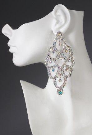Fancy rhinestone circle drop earrings feature:•Aurora borealis rhinestones •Lead and nickel free