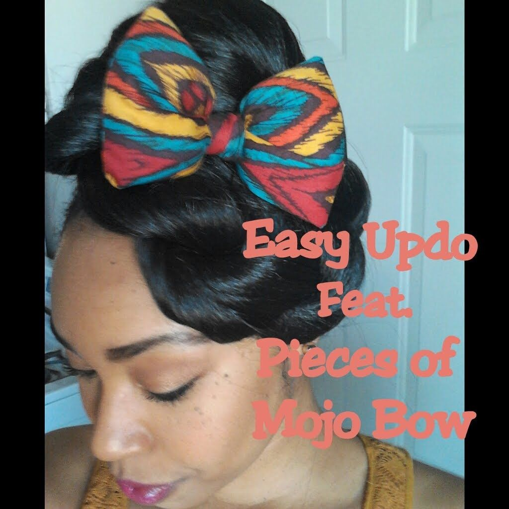 easy natural hair updo feat pieces of mojo hair bow requested