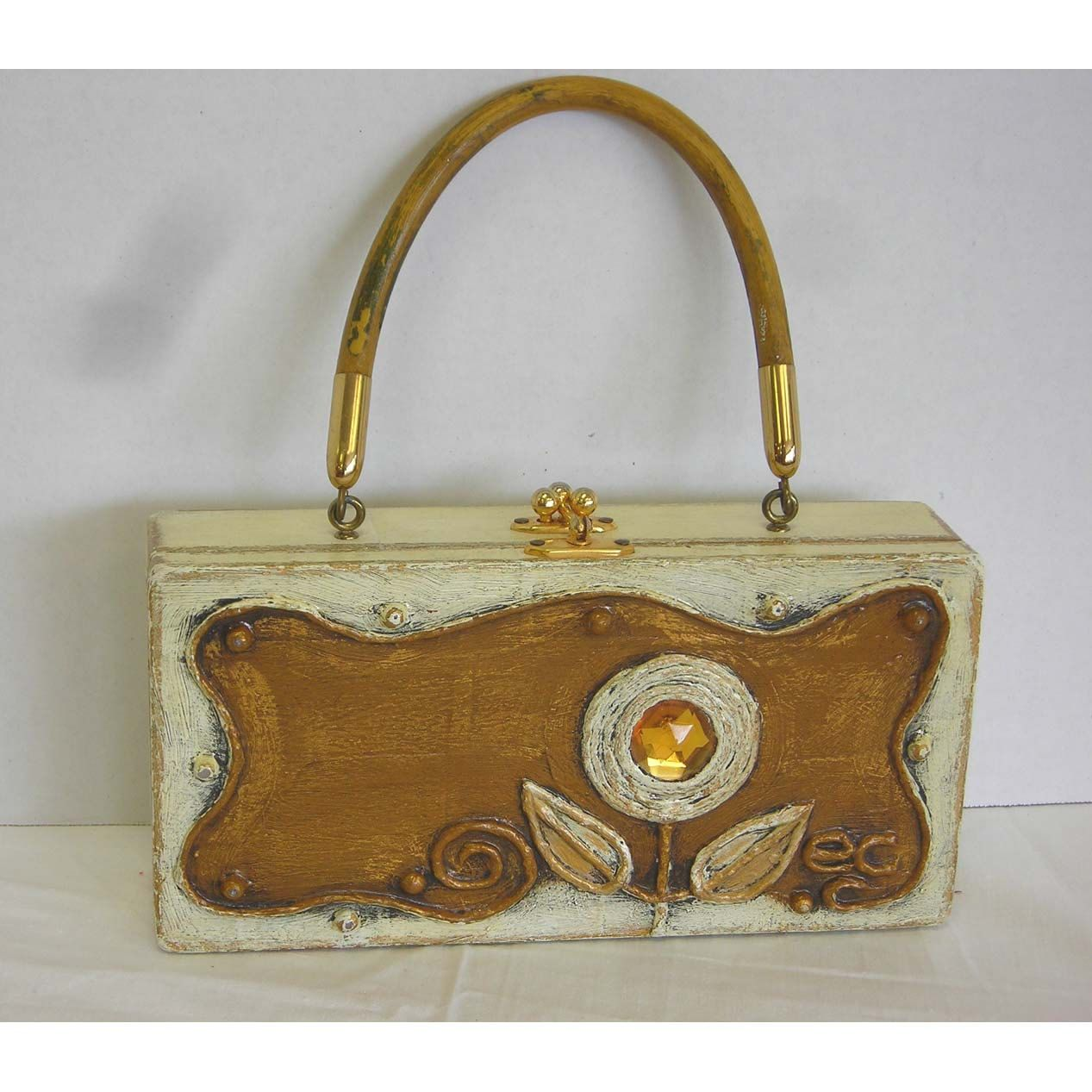 1960s Enid Collins HTF Rare Paper Mache Box Purse Floral Handbag Vintage - pinned by pin4etsy.com