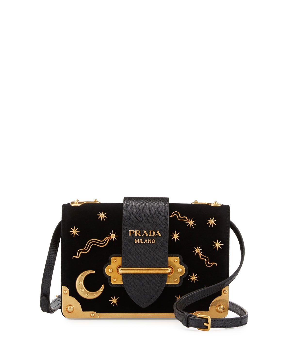 fc3b29c865cd V32ZR Prada Cahier Astrology Velvet Shoulder Bag, Black (Nero) | get ...
