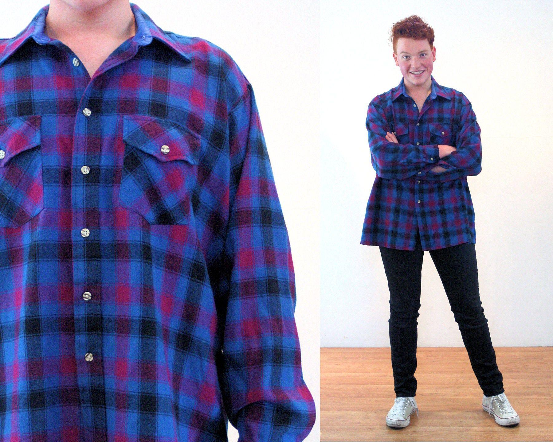 80s Blue Purple Flannel Shirt Xl Men S Plaid Van Heusen Etsy Purple Plaid Shirt Mens Vintage Shirts Purple Flannel