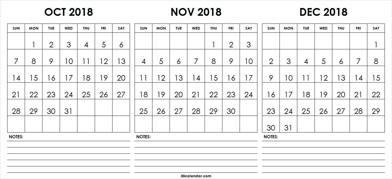 printable blank october november december calendar 2018 this 30 day calendar portal provides yearly quarterly monthly and weekly calendar template