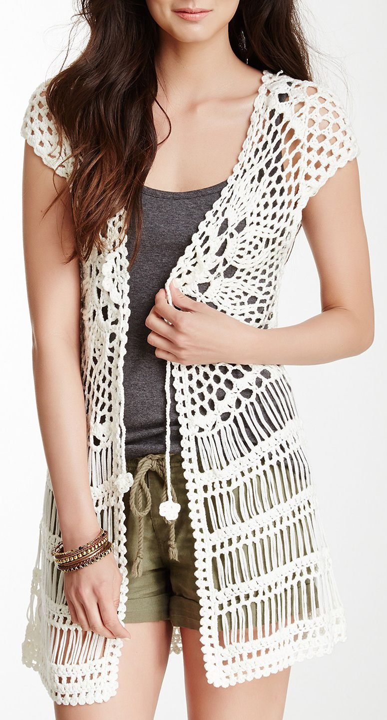 1672ad97cdc08 Wear a crochet vest over lots of types of outfits! You can even use this as  a cute bathing suit coverup.