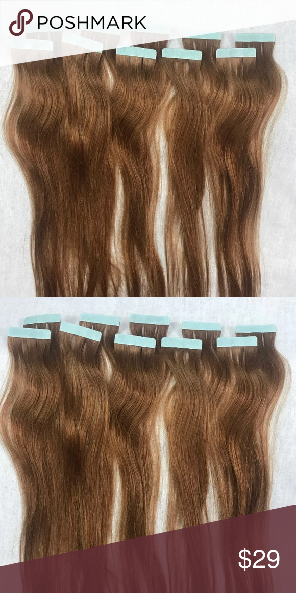 10 Pieces Remy Tape Hair Extensions Light Auburn 10 Pieces 19 20