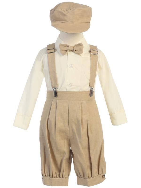 Baby Blue Linen Knicker Outfit with Matching Suspenders