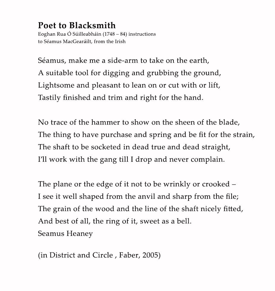 Poet To Blacksmith By Seamu Heaney Blacksmithing Observation Theme Of The Poem Digging