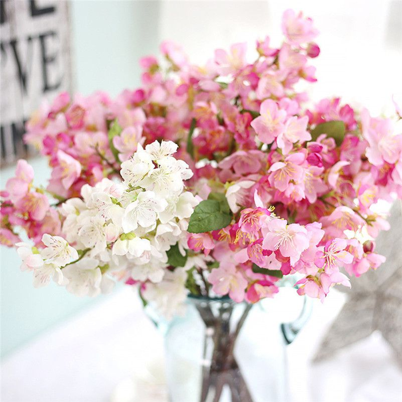 2017 new spring Artificial Fake Flowers Leaf Cherry Blossoms Floral ...
