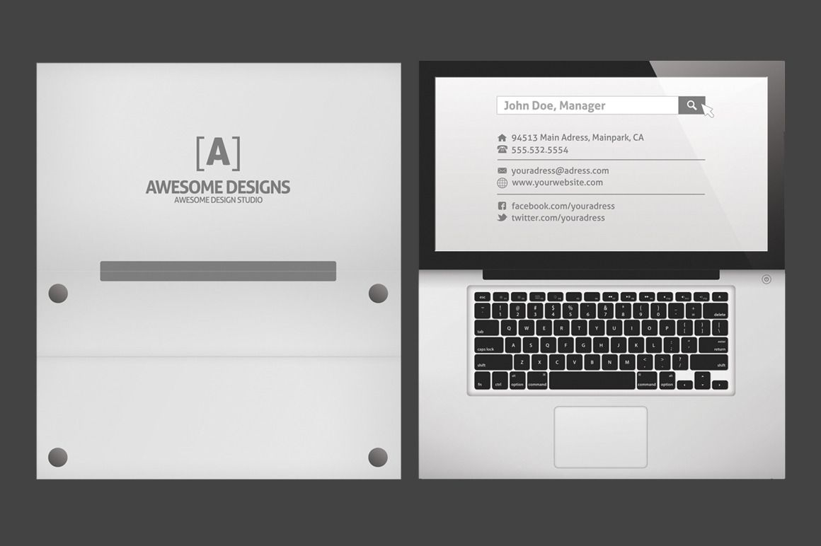 Pin by kathleen meyer on business card ideas pinterest folded laptop folded business card template by zeppelin graphics on creative market cheaphphosting Choice Image
