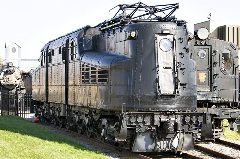 Pennsylvania Railroad GG1 #4800. Note the rivited body. Raymond Lowey would smooth this and 139 units were built and served the electrified lines for nearly 50 years.