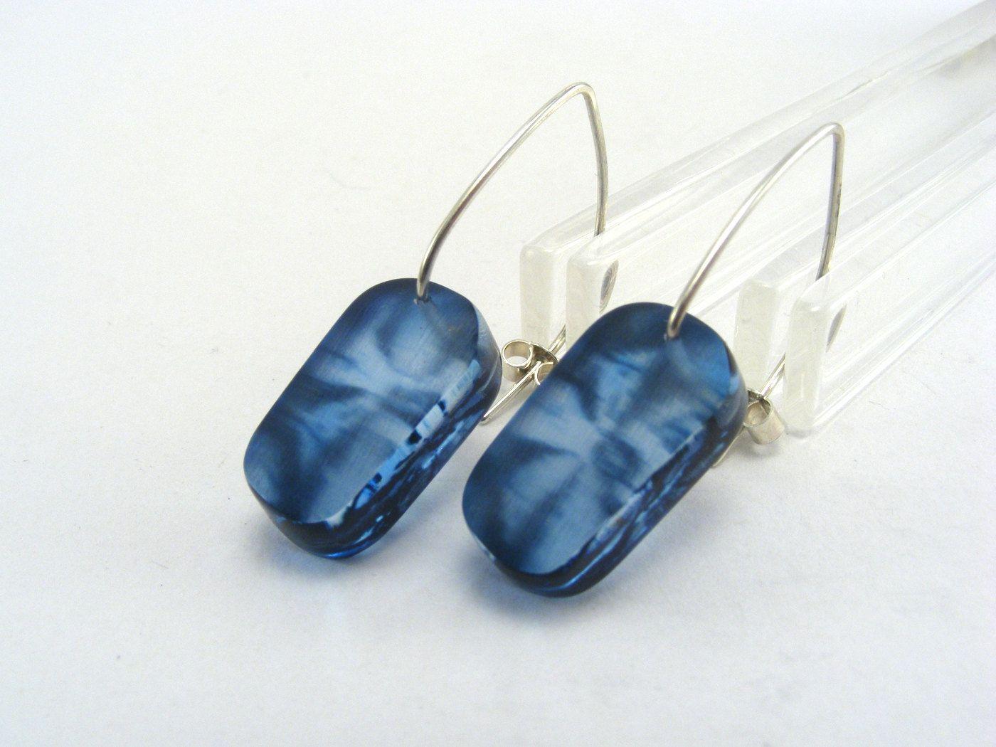 Blue Drop Earrings - Blue Small Earrings - Perspex Earrings - Floral ...
