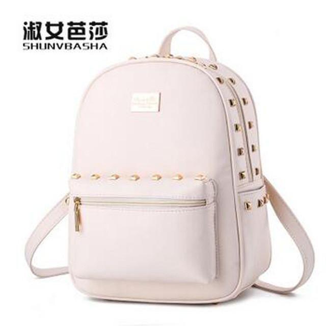 412725f9dcf6 2016 new female bag bag leather backpack bag Feminina big family girl solid  candy pink beige blue green