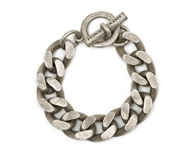 Antiqued sterling silver-clad bevel chain bracelet with custom toggle by French Kande